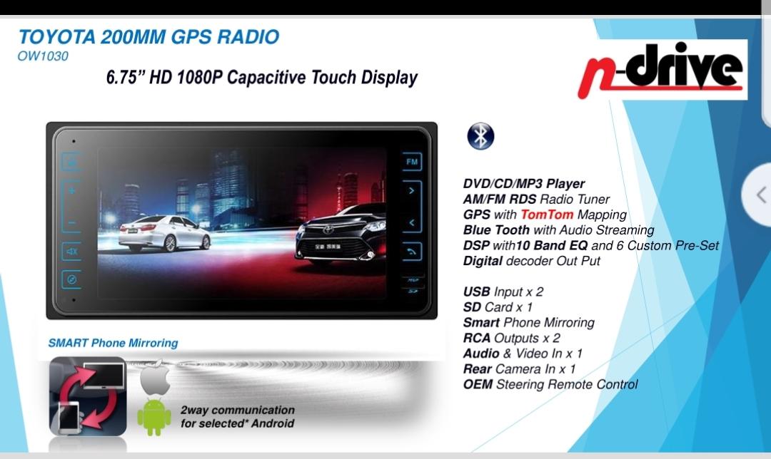 N-Drive Toyota 200MM GPS Radio