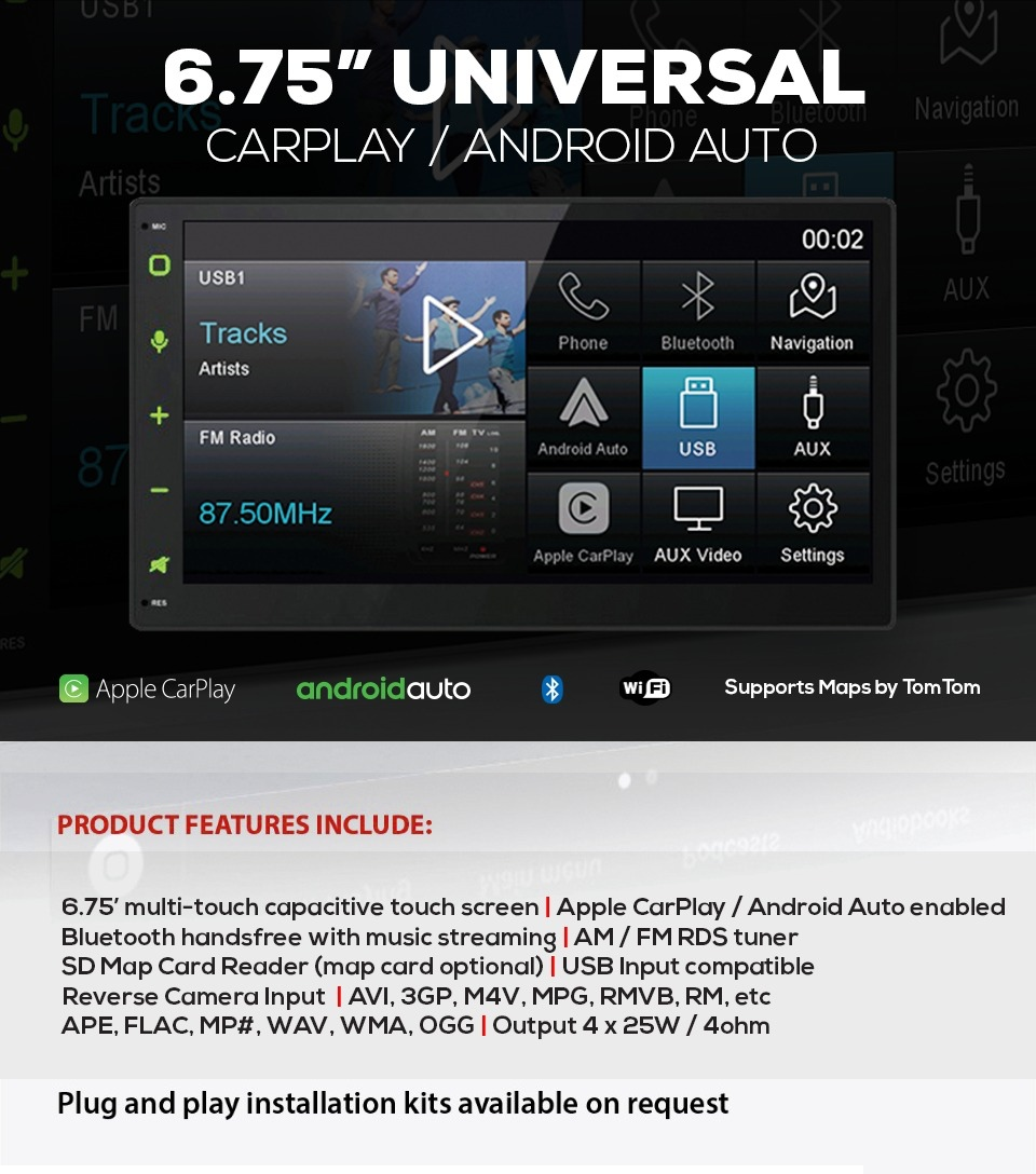 6 75 Universal Carplay Android Auto Pe 101 Cpaa